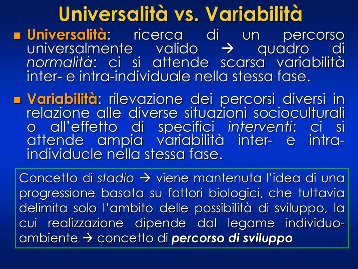 Universalità vs. Variabilità