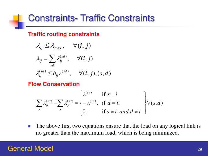 Constraints- Traffic Constraints