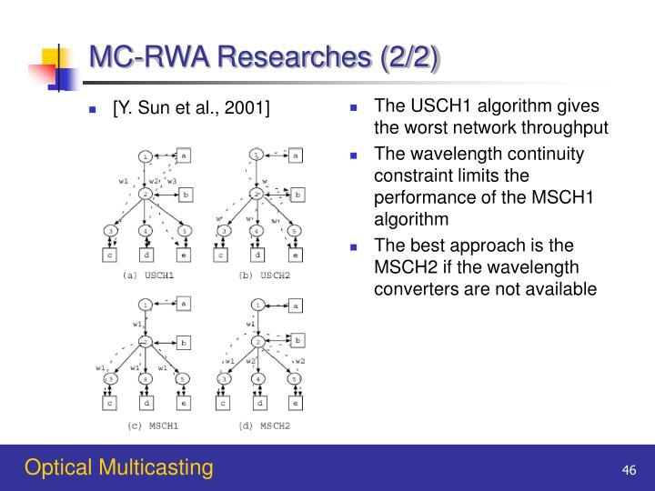 MC-RWA Researches (2/2)