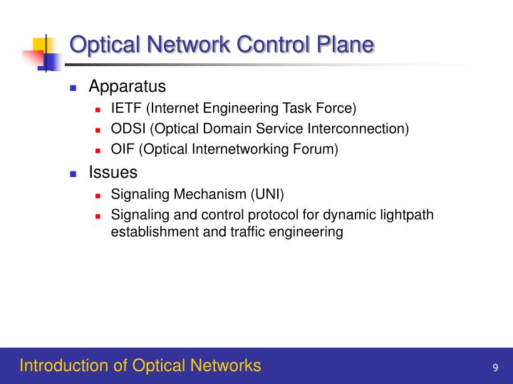 Optical Network Control Plane