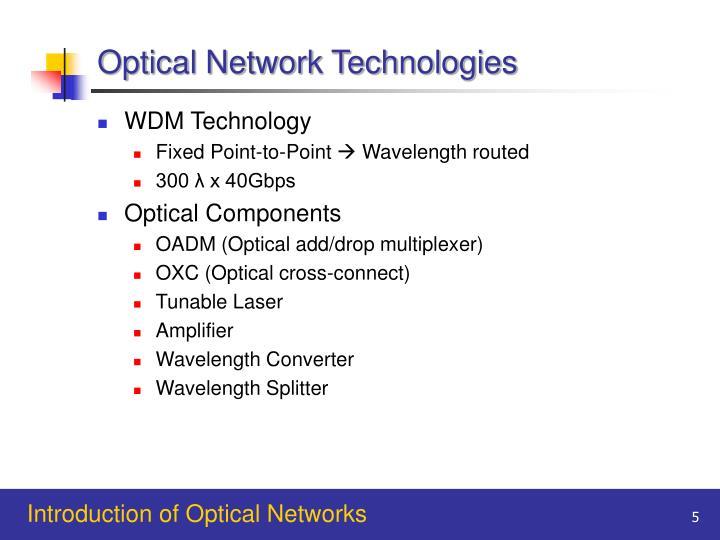 Optical Network Technologies