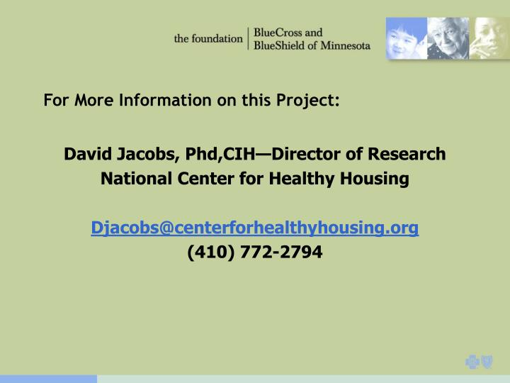 For More Information on this Project: