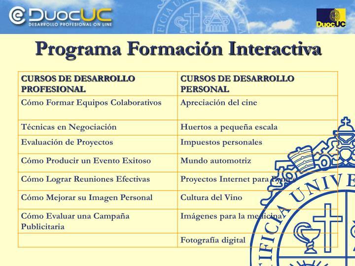 Programa Formación Interactiva