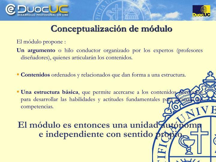 Conceptualización de módulo