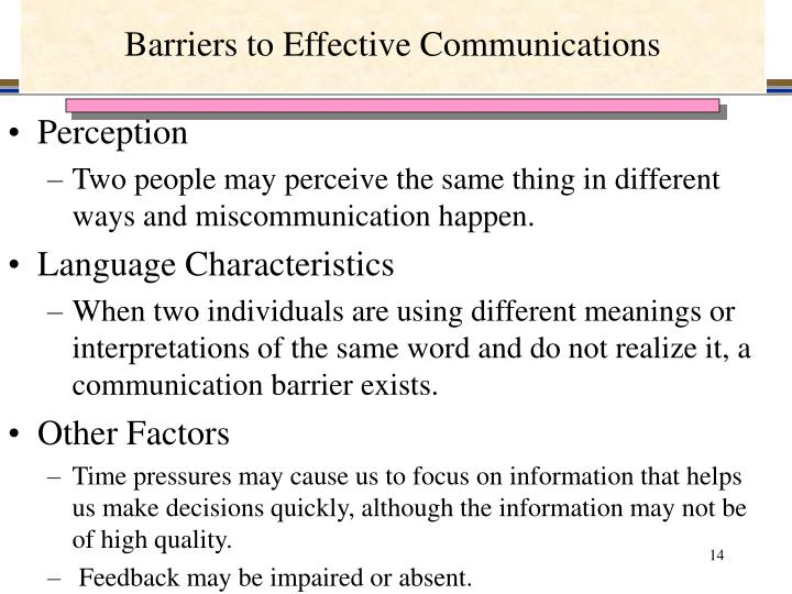 Barriers to Effective Communications