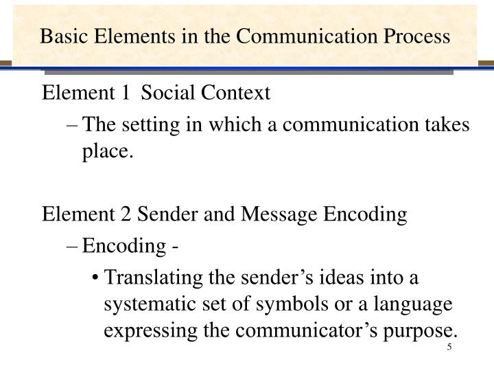 Basic Elements in the Communication Process