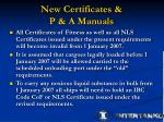 new certificates p a manuals