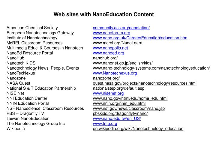 Web sites with NanoEducation Content