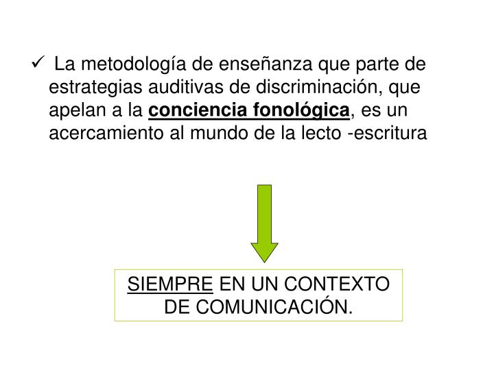 La metodología de enseñanza que parte de estrategias auditivas de discriminación, que apelan a la