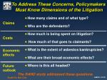 to address these concerns policymakers must know dimensions of the litigation