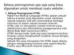 bahasa pemrograman apa saja yang biasa digunakan untuk membuat suatu website