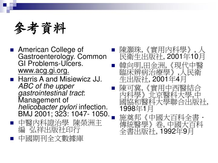 American College of Gastroenterology. Common GI Problems-Ulcers.