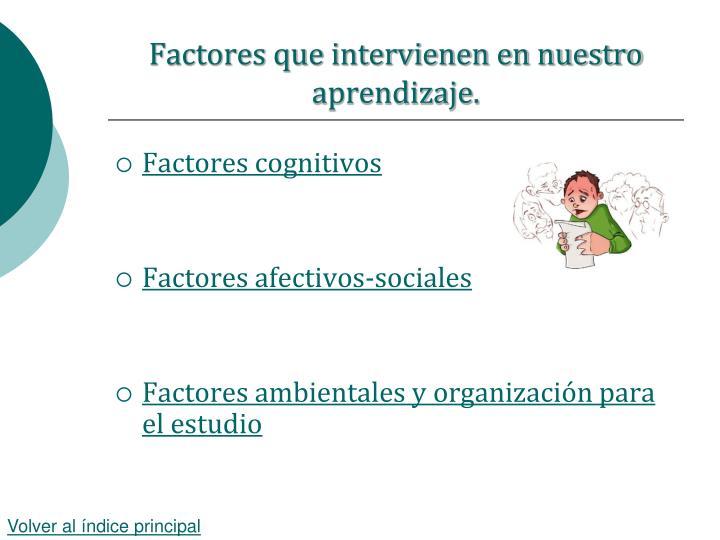 Factores que intervienen en nuestro aprendizaje.