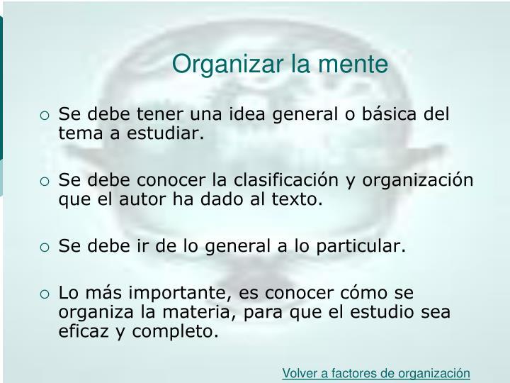 Organizar la mente