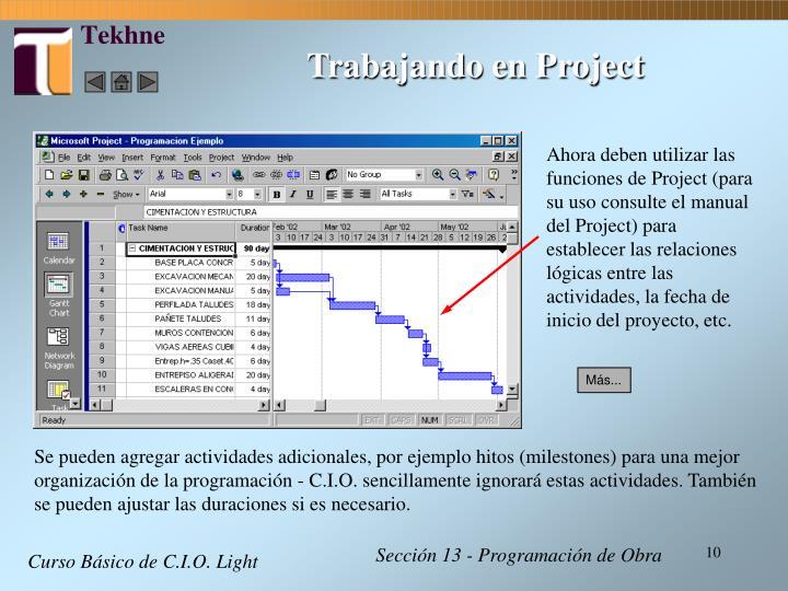 Trabajando en Project