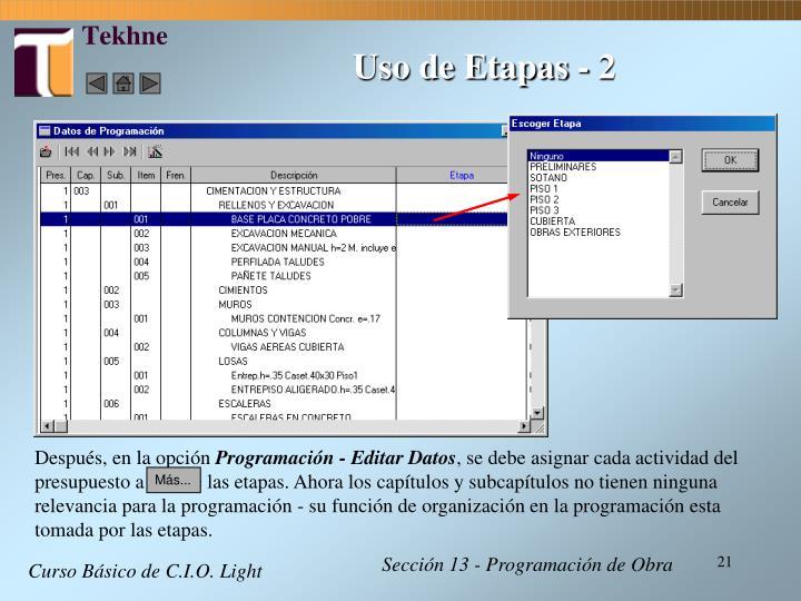 Uso de Etapas - 2