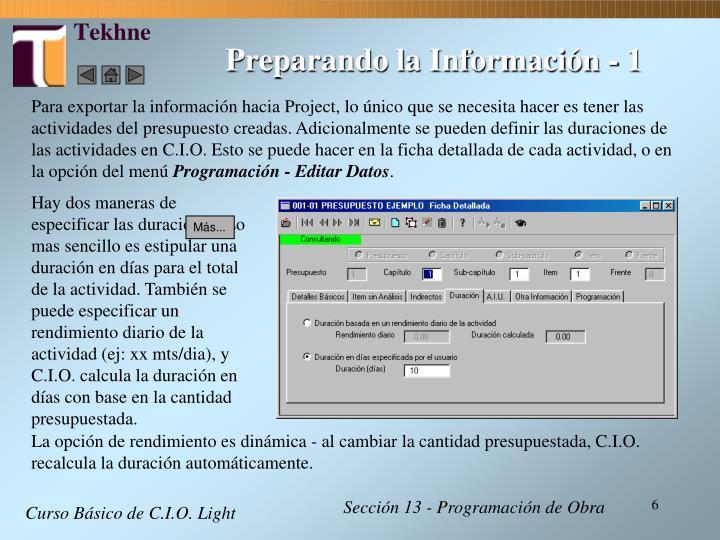 Preparando la Información - 1