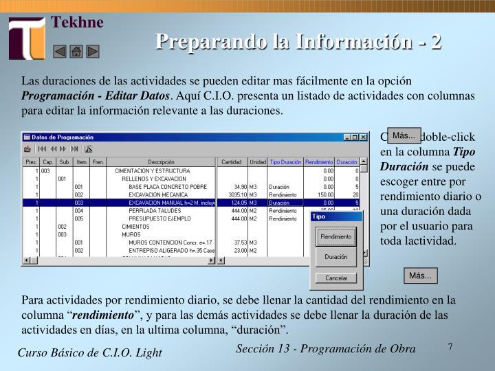 Preparando la Información - 2