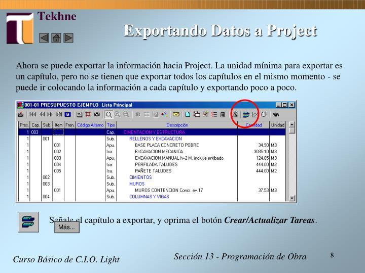 Exportando Datos a Project