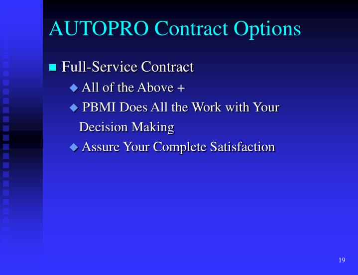 AUTOPRO Contract Options