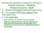 data elements applicable to neglected or delinquent pretest outcome reading pretest outcome math1