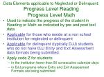 data elements applicable to neglected or delinquent progress level reading progress level math