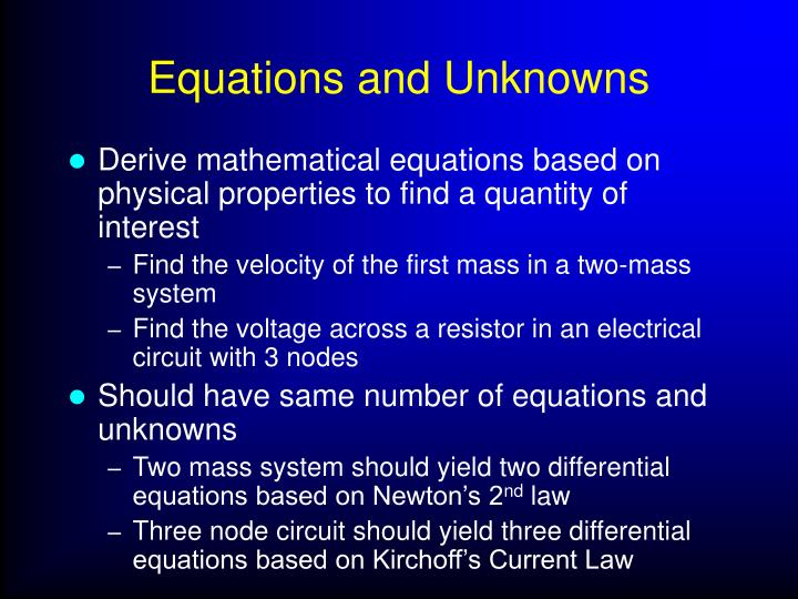 Equations and Unknowns