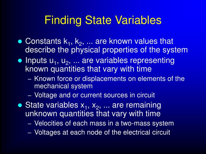 Finding State Variables
