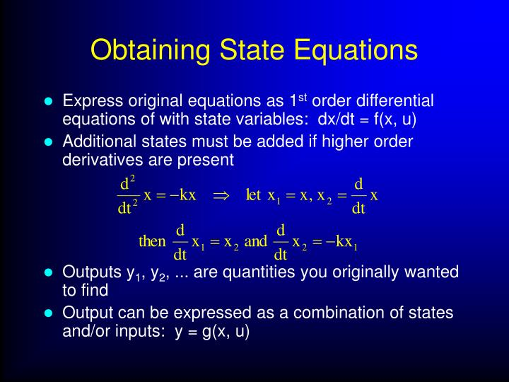 Obtaining State Equations