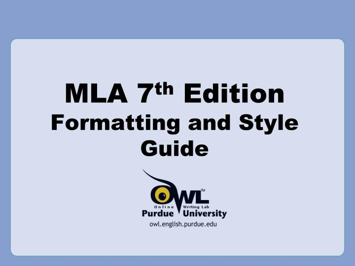mla 7 th edition formatting and style guide n.