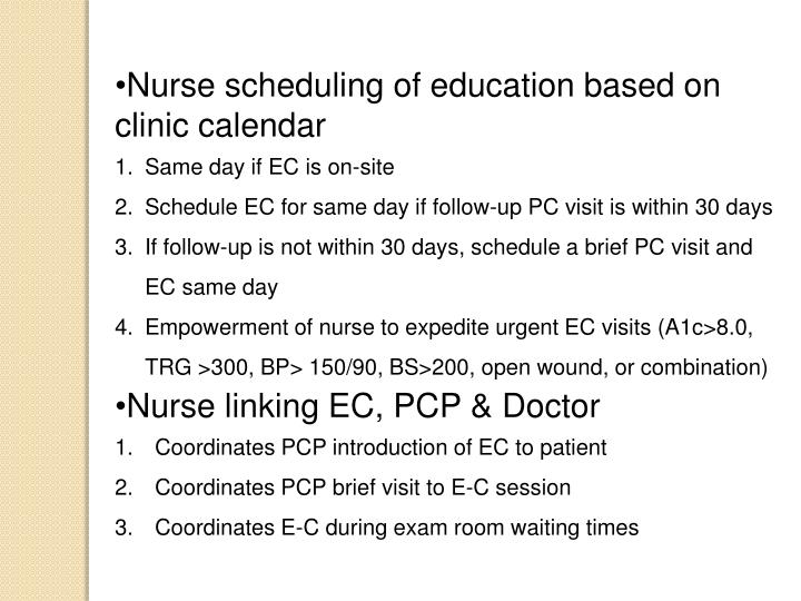 Nurse scheduling of education based on clinic