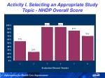 activity i selecting an appropriate study topic nhdp overall score