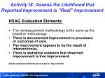 activity ix assess the likelihood that reported improvement is real improvement