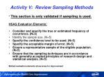 activity v review sampling methods