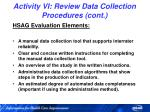 activity vi review data collection procedures cont