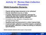 activity vi review data collection procedures