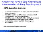 activity viii review data analysis and interpretation of study results cont