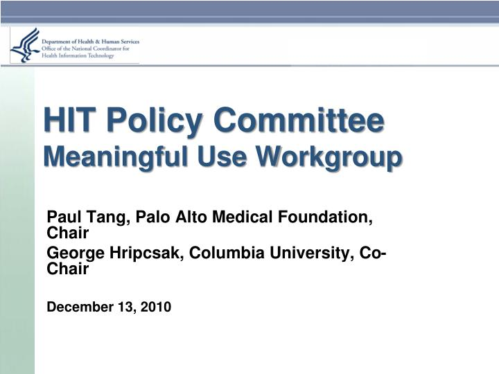 meaningful use policy brief