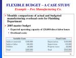flexible budget a case study example fox manufacturing co