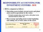 responsibility accounting for investment centers roi