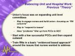 balancing unit and hospital work previous theory