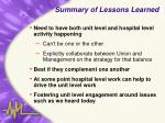 summary of lessons learned