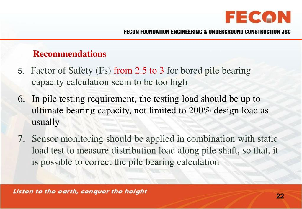PPT - BEARING CAPACITY OF BORED PILE CALCULATION AND