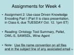 assignments for week 4