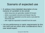 scenario of expected use