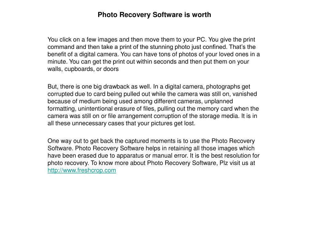 photo recovery software is worth l.