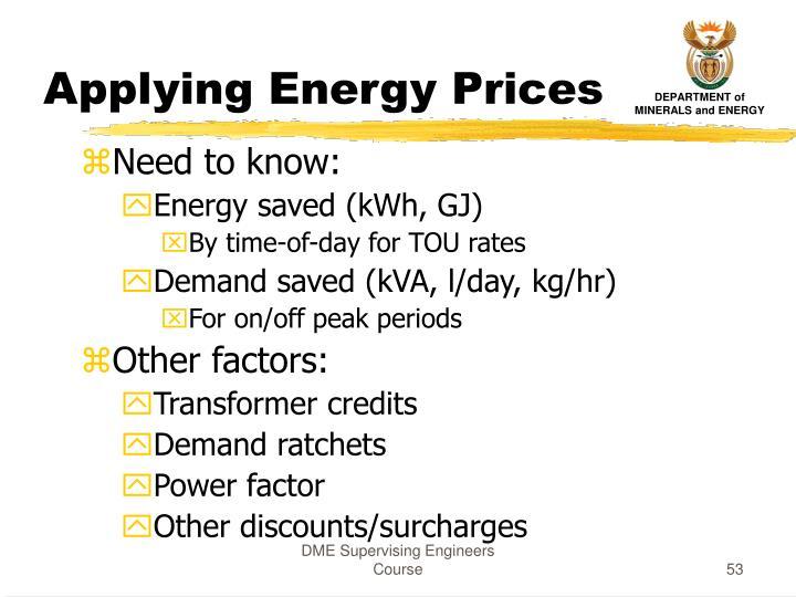 Applying Energy Prices