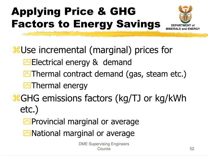 Applying Price & GHG Factors to Energy Savings