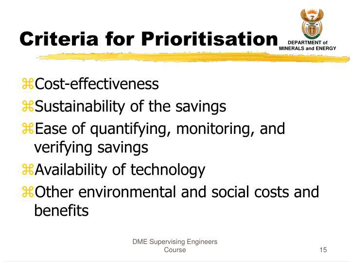 Criteria for Prioritisation
