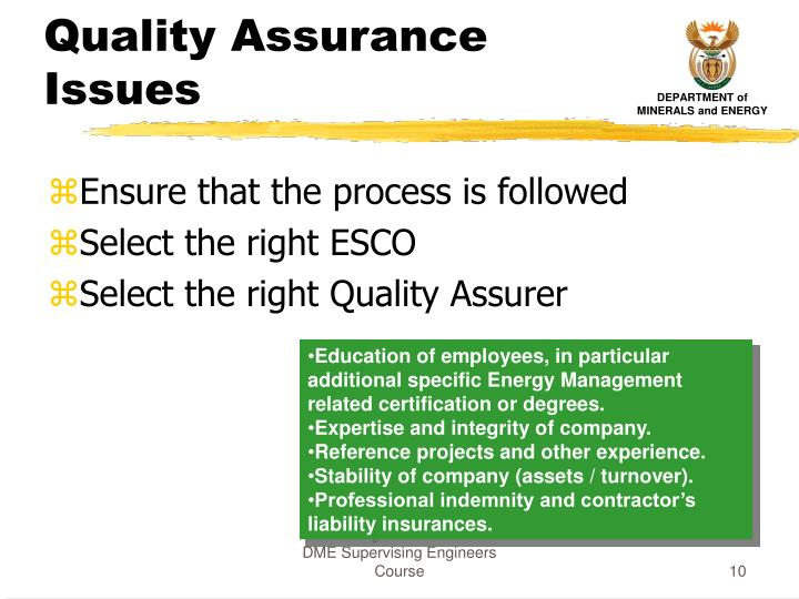 Quality Assurance Issues